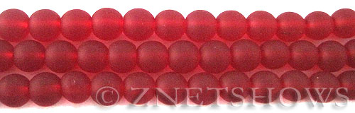 Cultured Sea Glass round Beads  <b>8mm</b> 05-Cherry Red    per  24 pcs in 8-in-str <b>5-str-hank</b>