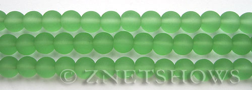 Cultured Sea Glass round Beads  <b>8mm</b> 23-Peridot    per  24 pcs in 8-in-str <b>5-str-hank</b>