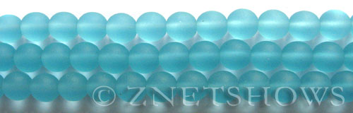Cultured Sea Glass round Beads  <b>8mm</b> 28-Turquoise Bay    per  24 pcs in 8-in-str <b>5-str-hank</b>