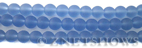 Cultured Sea Glass round Beads  <b>8mm</b> 31-Light Sapphire    per  24 pcs in 8-in-str <b>5-str-hank</b>