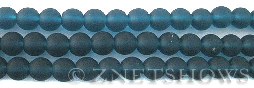 Cultured Sea Glass round Beads  <b>8mm</b> 82-Teal    per  24 pcs in 8-in-str <b>5-str-hank</b>