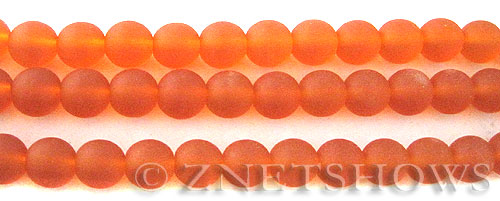 Cultured Sea Glass round Beads  <b>6mm</b> 83-Tangerine (32 pcs in 8-in-str)   per  <b>5-strand-hank</b>