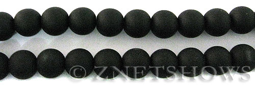 Cultured Sea Glass round Beads  <b>10mm</b> 02-Jet Black    per  19 pcs in 8-in-str <b>5-strand-hank</b>