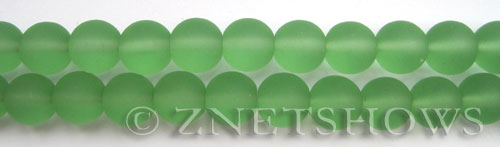 Cultured Sea Glass round Beads  <b>10mm</b> 23-Peridot    per  19 pcs in 8-in-str <b>5-strand-hank</b>