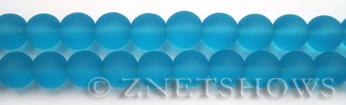 Cultured Sea Glass round Beads  <b>10mm</b> 28-Turquoise Bay    per  19 pcs in 8-in-str <b>5-strand-hank</b>