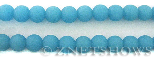 Cultured Sea Glass round Beads  <b>10mm</b> 46-Opaque Blue Opal    per  19 pcs in 8-in-str <b>5-strand-hank</b>