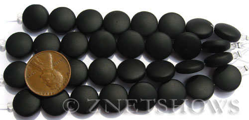 Cultured Sea Glass coin puffed Beads  <b>12mm</b> 02-Jet Black (8-pc-str)(4-in-str)   per  <b>5-str-hank</b>