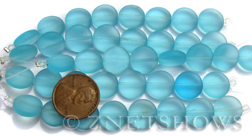 Cultured Sea Glass coin puffed Beads  <b>12mm</b> 28-Turquoise Bay (8-pc-str)(4-in-str)   per  <b>5-str-hank</b>