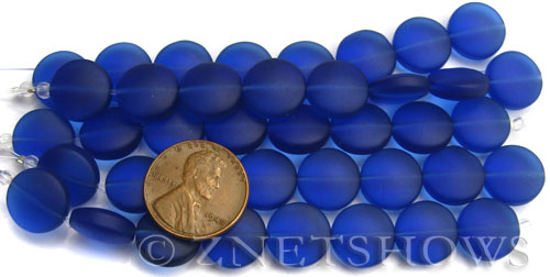 Cultured Sea Glass coin puffed Beads  <b>12mm</b> 33-Royal Blue (8-pc-str)(4-in-str)   per  <b>5-str-hank</b>