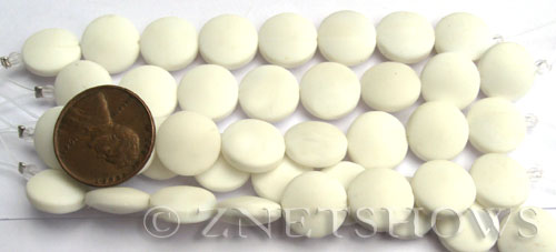 Cultured Sea Glass coin puffed Beads  <b>12mm</b> 42-Opaque White (8-pc-str)(4-in-str)   per  <b>5-str-hank</b>