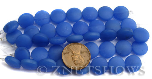 Cultured Sea Glass coin puffed Beads  <b>12mm</b> 47-Opaque Sky Blue (8-pc-str)(4-in-str)   per  <b>5-str-hank</b>