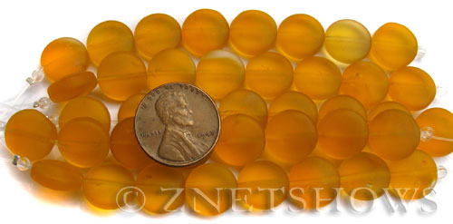 Cultured Sea Glass coin puffed Beads  <b>12mm</b> 57-Saffron Yellow (8-pc-str)(4-in-str)   per  <b>5-str-hank</b>