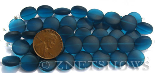 Cultured Sea Glass coin puffed Beads  <b>12mm</b> 82-Teal (8-pc-str)(4-in-str)   per  <b>5-str-hank</b>