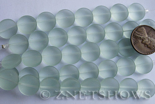 Cultured Sea Glass coin puffed Beads  <b>12mm</b> 88-Light Aqua `Coke` bottle Seafoam (8-pc-str)(4-in-str)      per  <b>5-str-hank</b>