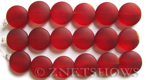 Cultured Sea Glass coin puffed Beads  <b>15mm</b> 05-Cherry Red (6-pc-str)   per  <b>5-str-hank</b>