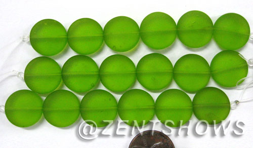 Cultured Sea Glass coin puffed Beads  <b>15mm</b> 22-Olive (6-pc-str)    per  <b>5-str-hank</b>