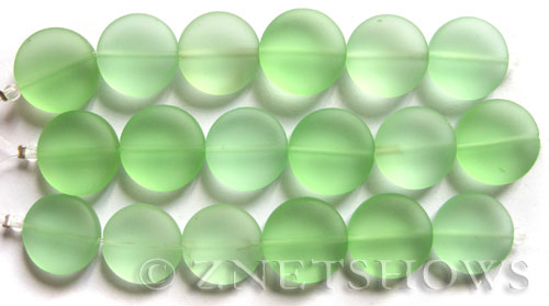 Cultured Sea Glass coin puffed Beads  <b>15mm</b> 23-Peridot (6-pc-str)   per  <b>5-str-hank</b>
