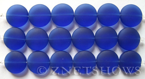Cultured Sea Glass coin puffed Beads  <b>15mm</b> 33-Royal Blue (6-pc-str)   per  <b>5-str-hank</b>