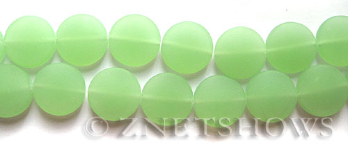 Cultured Sea Glass coin puffed Beads  <b>15mm</b>  43-Opaque Seafoam Green (6-pc-str)   per  <b>5-str-hank</b>