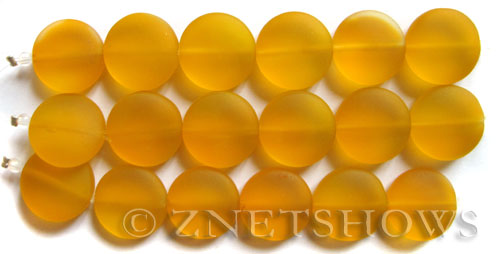 Cultured Sea Glass coin puffed Beads  <b>15mm</b> 57-Saffron Yellow (6-pc-str)   per  <b>5-str-hank</b>
