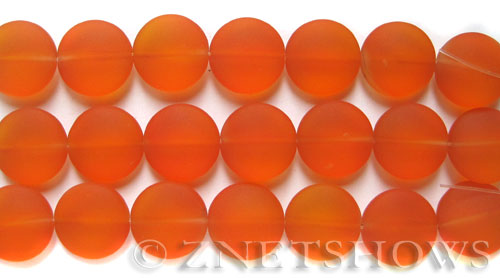 Cultured Sea Glass coin puffed Beads  <b>15mm</b> 83-Tangerine (6-pc-str )   per  <b>5-str-hank</b>