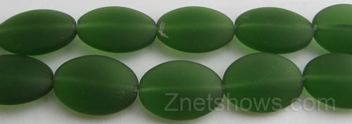 Cultured Sea Glass oval Beads  <b>18x13mm</b> 25-Shamrock    per  <b>11-pc-str</b>