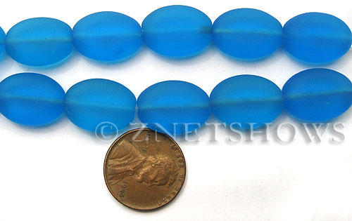 Cultured Sea Glass oval Beads  <b>18x13mm</b> 30-Pacific Blue (4-in-str)(6-pc-str)   per  <b>5-str-hank</b>