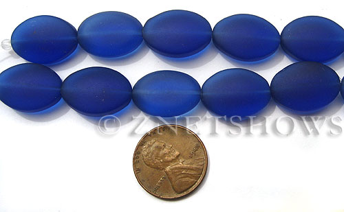 Cultured Sea Glass oval Beads  <b>18x13mm</b> 33-Royal Blue (4-in-str)(6-pc-str)   per  <b>5-str-hank</b>