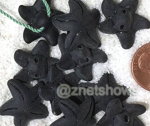 Cultured Sea Glass starfish small Beads  <b>20x7mm</b> 02-Jet Black    per  <b>10-pc-bag</b>