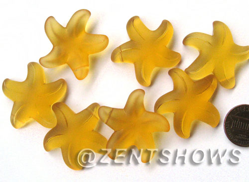 Cultured Sea Glass starfish large Pendants <b>32mm</b> 16-Desert Gold <b> top side drilled  </b> per <b>7-pc-bag</b>
