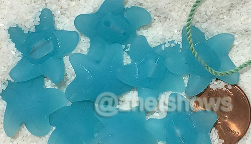 Cultured Sea Glass starfish small Beads  <b>20x7mm</b> 28-Turquoise Bay    per  <b>10-pc-bag</b>