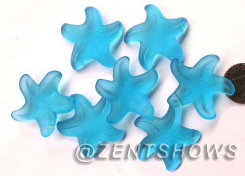 Cultured Sea Glass starfish large Pendants <b>32mm</b> 30-Pacific Blue <b> top side drilled  </b> per <b>7-pc-bag</b>