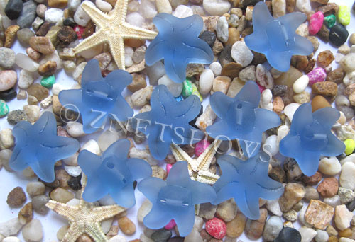Cultured Sea Glass starfish small Beads  <b>20x7mm</b> 31-Light Sapphire    per  <b>10-pc-bag</b>