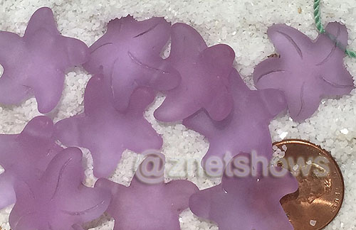 Cultured Sea Glass starfish small charms <b>20x7mm</b> 39-Periwinkle Changes <b> top side drilled </b>  per <b>10-pc-bag</b>