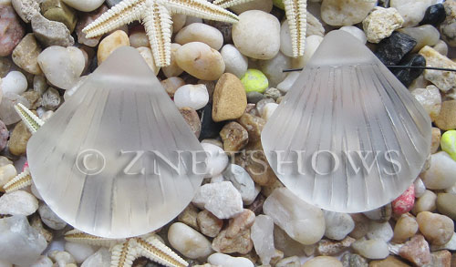 Cultured Sea Glass shell Pendants  <b>30x28mm</b> 01-Crystal    per  <b>10-pc-bag</b>