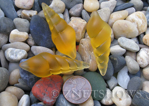 Cultured Sea Glass conch shell Pendants  <b>44x15mm</b> 16-Desert Gold earring size   per  <b>3-pc-bag</b>