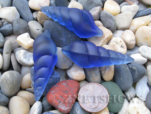 Cultured Sea Glass conch shell Pendants  <b>44x15mm</b> 33-Royal Blue earring size   per  <b>3-pc-bag</b>