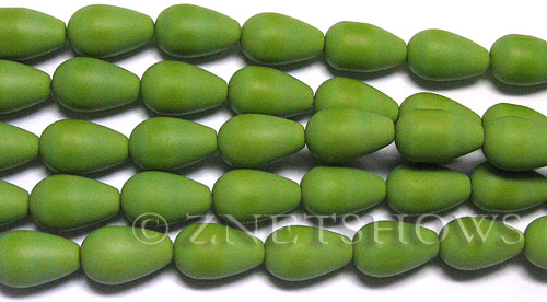 special opaque color Cultured Sea Glass teardrop round Beads  <b>16x10mm</b> (12-pc-str)   per  <b>8-in-str</b>