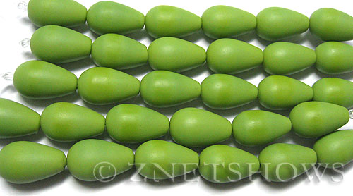 special opaque color Cultured Sea Glass teardrop round Beads  <b>16x10mm</b> (4-in-str)(6-pc-str)   per  <b>5-str-hank</b>