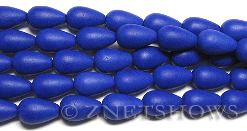 Opaque royal blue Cultured Sea Glass teardrop round Beads  <b>16x10mm</b> (12-pc-str)   per  <b>8-in-str</b>