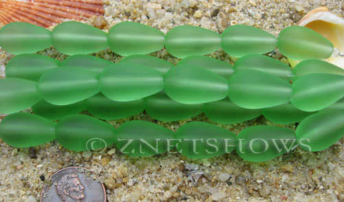 Cultured Sea Glass teardrop round Beads  <b>16x10mm</b> 23-Peridot (4-in-str)(6-pc-str)   per  <b>5-str-hank</b>