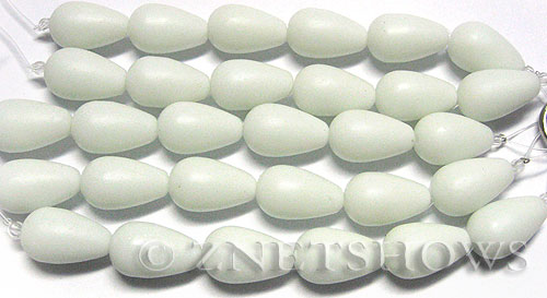 Cultured Sea Glass teardrop round Beads  <b>16x10mm</b> 42-Opaque White (4-in-str)(6-pc-str)   per  <b>5-str-hank</b>