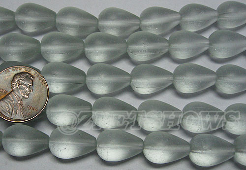 Cultured Sea Glass teardrop round Beads <b>16x10mm</b> 88-Light Aqua `Coke` bottle Seafoam  (12-pc-str) per <b>8-in-str</b>