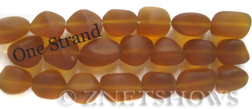 Cultured Sea Glass nugget Beads  <b>10-15mm</b> 17-Amber    per  <b>7-pc-str</b>