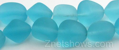Cultured Sea Glass nugget Beads  <b>10-15mm</b> 28-Turquoise Bay (7-pc-str)   per  <b>5-strand-hank</b>