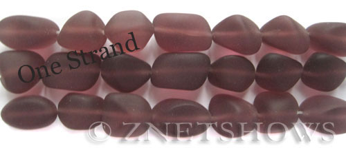 Cultured Sea Glass nugget Beads  <b>10-15mm</b> 37-Medium Amethyst    per  <b>7-pc-str</b>