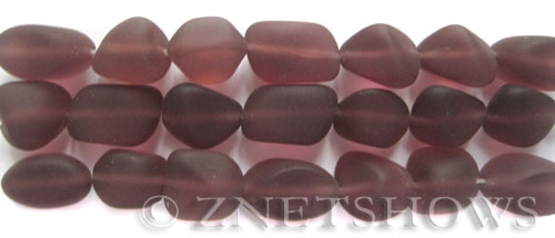Cultured Sea Glass nugget Beads  <b>10-15mm</b>  37-Medium Amethyst (7-pc-str)   per  <b>5-strand-hank</b>