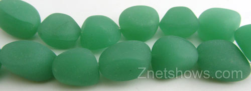 Cultured Sea Glass nugget Beads  <b>10-15mm</b> 44-Opaque Spring Green (7-pc-str)   per  <b>5-strand-hank</b>