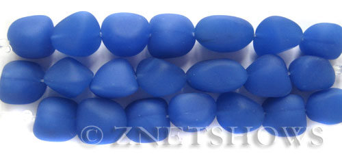 Cultured Sea Glass nugget Beads  <b>10-15mm</b>  47-Opaque Sky Blue (7-pc-str)   per  <b>5-strand-hank</b>