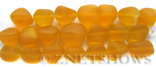 Cultured Sea Glass nugget Beads  <b>10-15mm</b>  57-Saffron Yellow (7-pc-str)   per  <b>5-strand-hank</b>